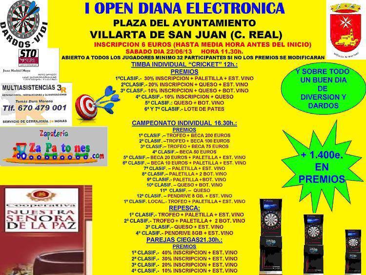 campeonato de dardos con mas de 1400€ en precios Open de dardos